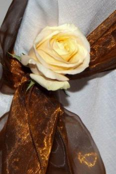 Broze Drapes with Rose